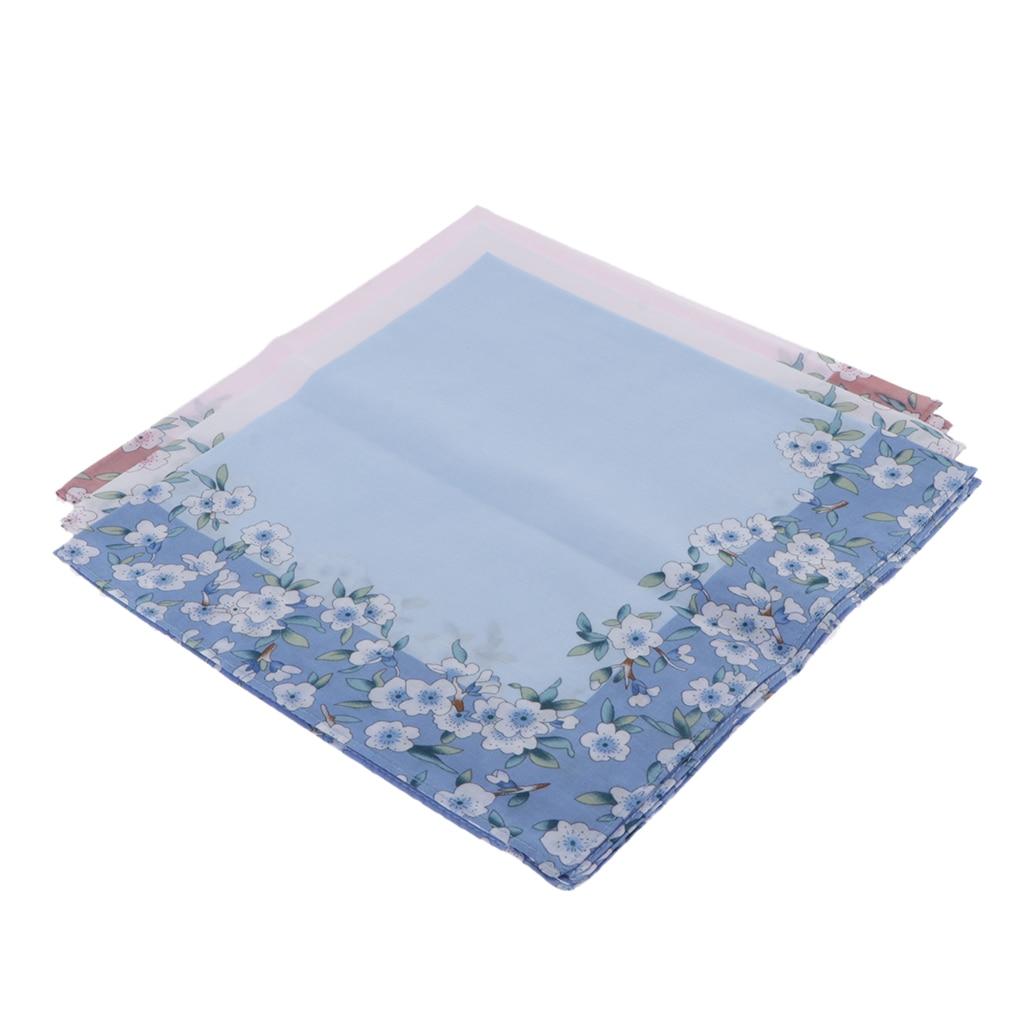 3pcs Women Cotton Handkerchiefs Flower Floral Hanky Kerchiefs Ladies Hankie