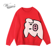 Spring Autumn New Women Pullover Sweaters O Neck Cartoon Pig Pretty Vintage Japan Style Ladies Knitwear Jumper Tops  C-068
