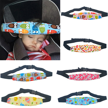 Adjustable Baby Stroller Head Support Pad Pillow Fastening Pram Belt Children Kids Car Seat Safety Sleep Positioner 100% Cotton image