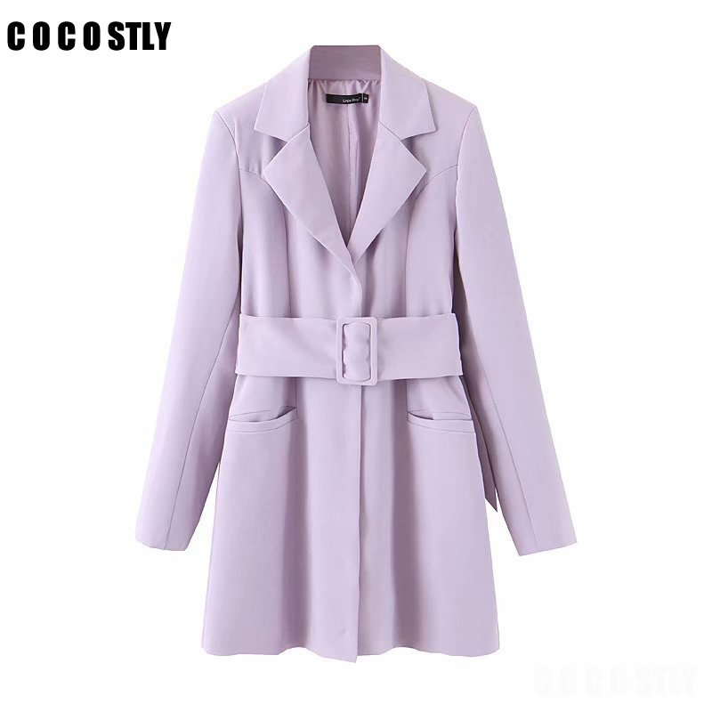 2020 Spring Autumn Lavender Sashes Blazer Women Belt Vintage Women Jacket Long Sleeve Mid Long Suit Office Lady Coat Outwear
