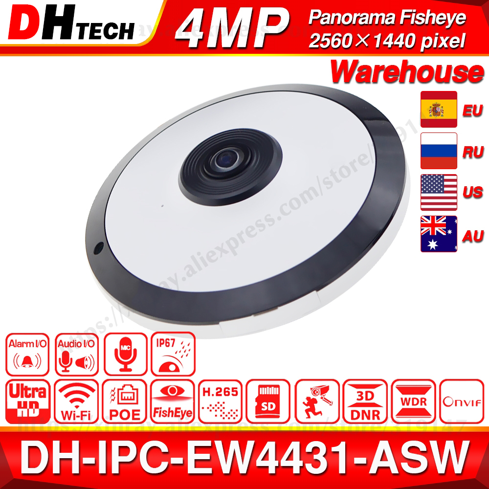 Dahua IPC-EW4431-ASW 4MP Panorama POE WIFI 360 Fisheye IP Camera Built-in MIC SD Card Slot Audio Alarm Interface