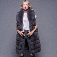 Women Real Fox Fur Vest Long Winter Warm Coat High Quality Fashion Sleeveless Jacket
