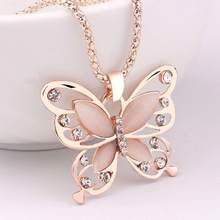 Women Necklaces Fashion Jewelries Rose Gold Opal Butterfly Charm Pendant Long Chain Necklace Shiny Jewelry Rhinestone Choker 10X(China)