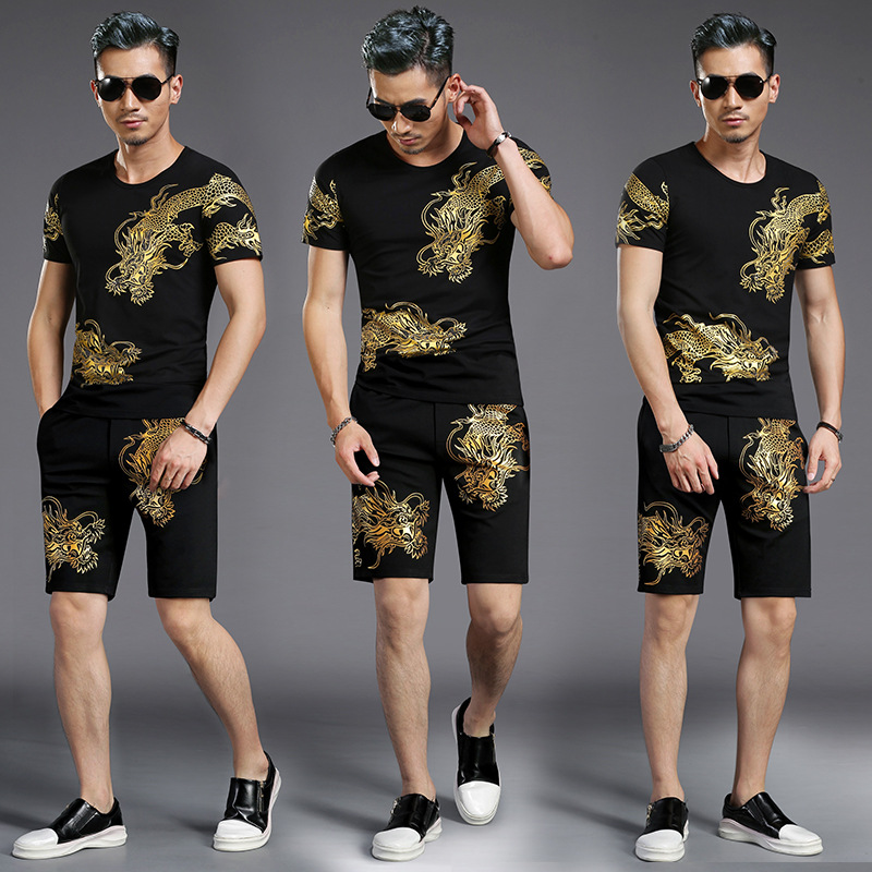 Tao Bai Ye MEN'S Suit Chinese-style Dragon Pattern Printing Short-sleeved T-shirt + Shorts Two-Piece Set T1198K9800