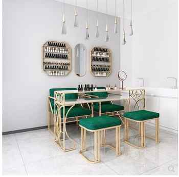 New luxury nail art table and chair set single and double three-person nail shop modern online celebrity iron art nail art table - DISCOUNT ITEM  26 OFF Furniture