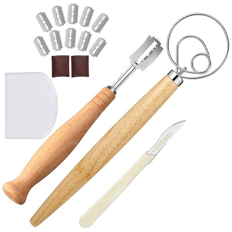 Fouet à pâte danois grande Lame à pain pour marquer le pain au levain facilement avec 10 lames de rasoir remplaçables (16 pièces)