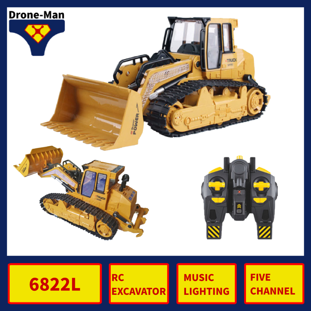 6822L RC Truck Bulldozer Caterpillar Tractor Model Engineering Car Excavates Push Soil With Music Lighting Effects Toys Kid Gi