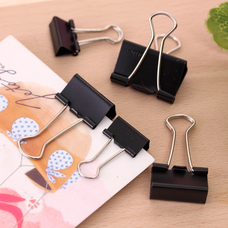 Mohamm 19mm Office Supplies Stationery Black Dovetail Clip Financial Paper Clip Metal Strong Long Tail Clip