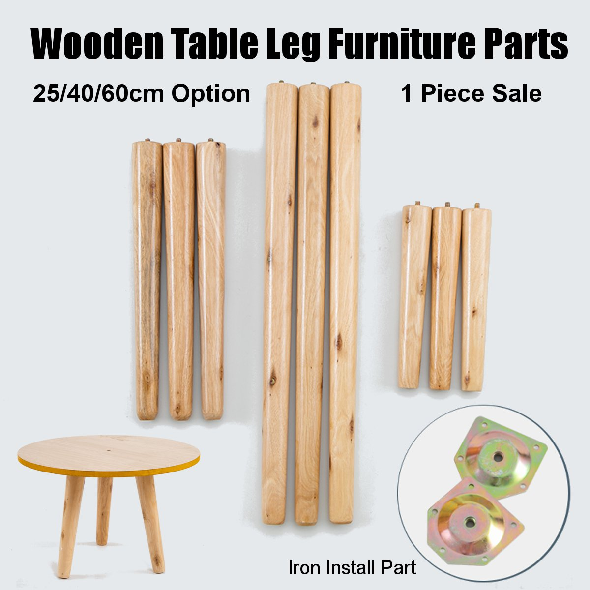 1PC 25/40/60cm Wooden Table Leg Tapered Chair Stool Sofa Home Furniture Parts Cabinet Furniture Hardware Screw Mounting Kits Set