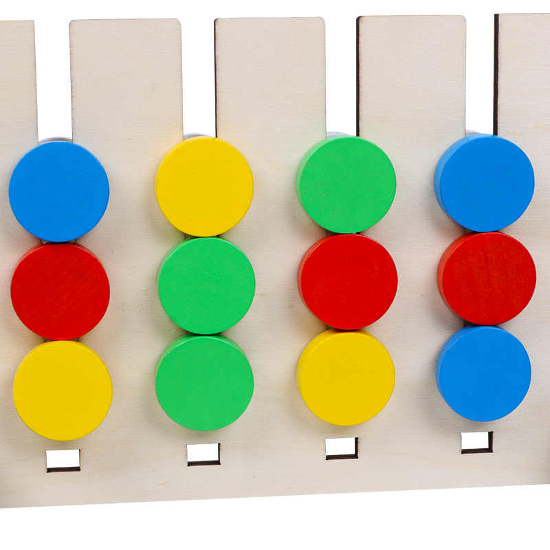 Juego de emparejamiento de frutas y colores de doble cara, juguetes de madera para niños, juguetes educativos para niños Montessori de entrenamiento con el motivo lógico