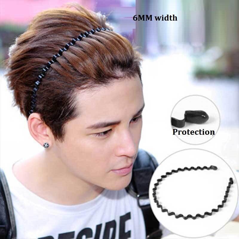 Новая мода Мужская Женская унисекс черная волнистая повязка для волос спортивная повязка для волос аксессуары для волос - Цвет: 1