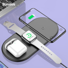 Baseus Qi Wireless Charger For Airpods Apple Watch 5 4 3 2 iWatch 3in1 Fast Wireless Charging Pad For iPhone 11 Pro Max Samsung