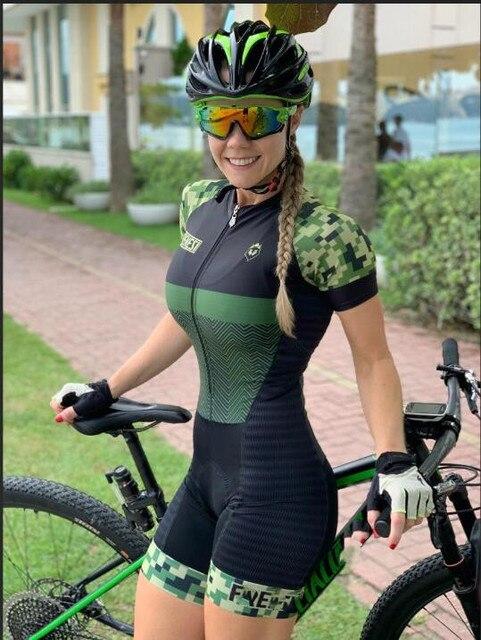 Kafitt-9D-gel feminino triathlon ciclismo camisa de uma peça saia pouco macaco manga curta conjunto bicicleta corrida 2