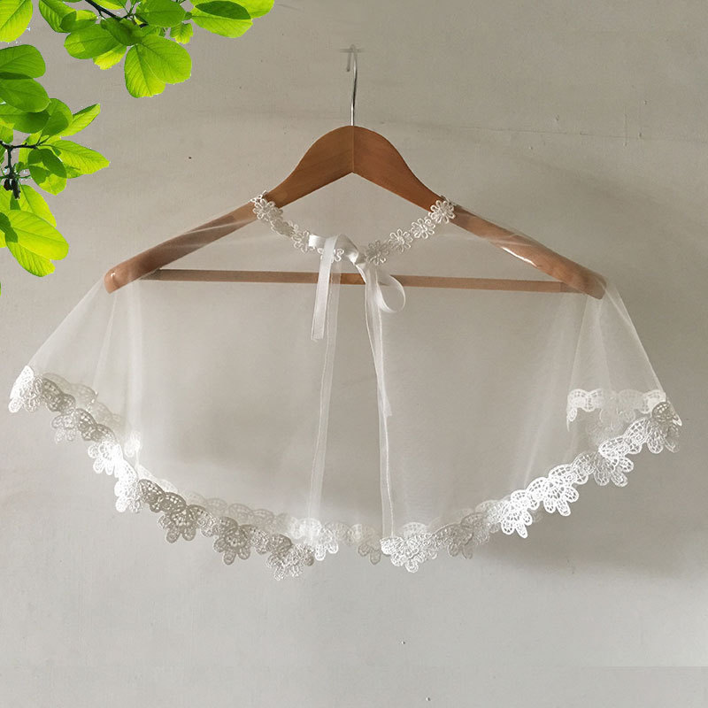 2020 Real Cotton Estola De Pele Falso Wedding Shawl New Summer 2020 Bridal Shawl Thin Lace Wedding Jacket Cape Dress Woman