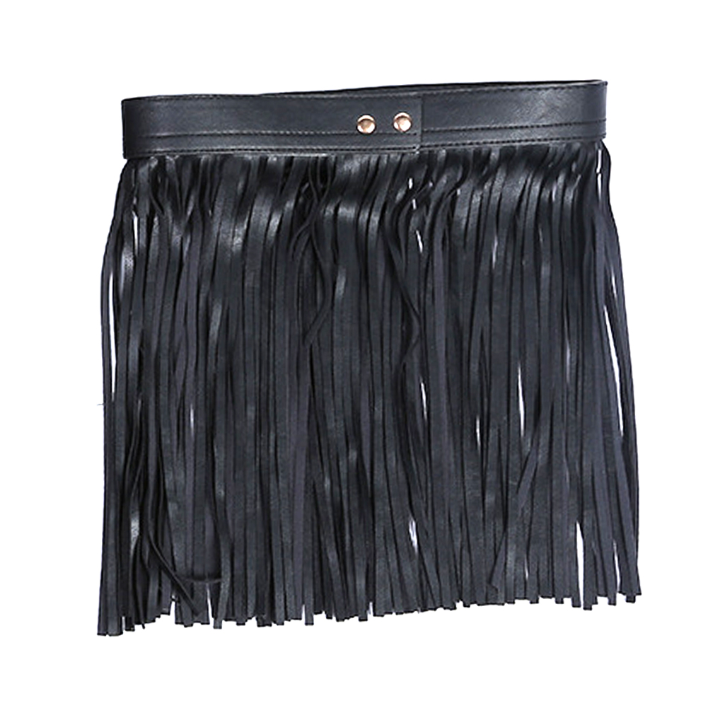 Women Cool Artificial PU Buckle Long Skirt Waist Belt Tassel Sexy All Matching Fringe Wide Adjustable