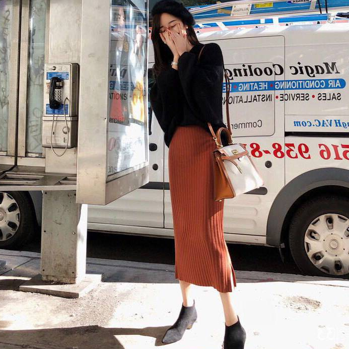 2020 Autumn Two Piece Set Women V Neck Knitted Pullover Sweater+Bodycon Split Pencil Tricot Long Skirt Knitwear Suit AQ613
