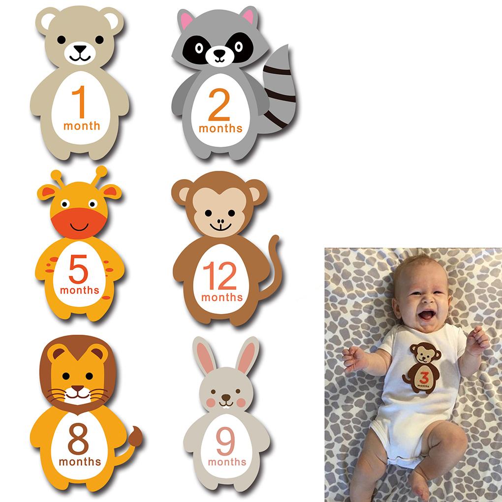 12 Sheets/set Baby Monthly Stickers Animal Belly Photographic Props Pregnant Women Newborn Infant Necktie Sticker Baby Photo