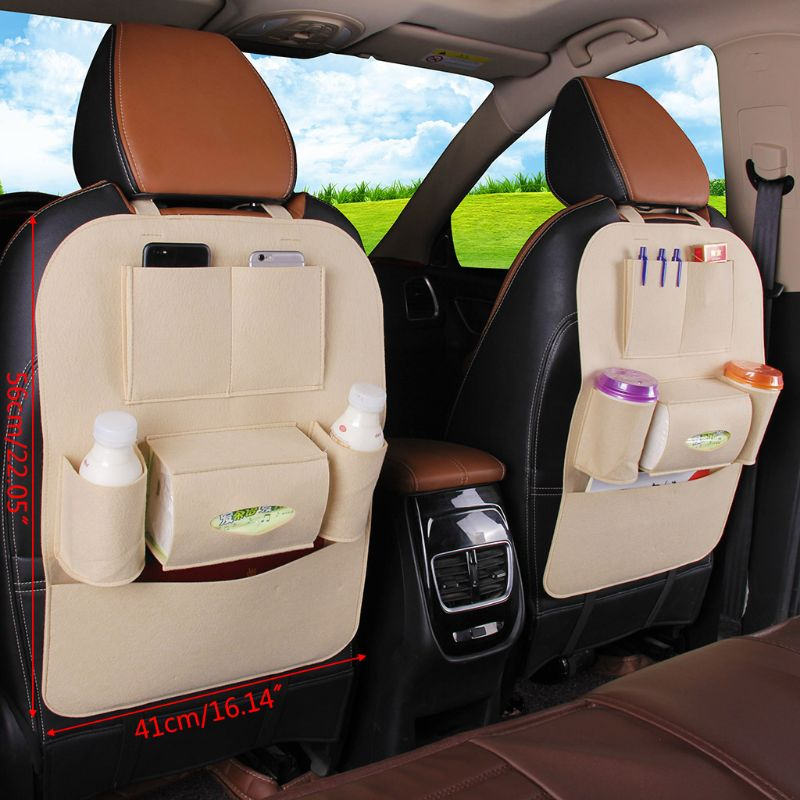 High-density Non-woven Car Back Seat Storage Bag With Hook Automobile Multi Pocket Organizer Kids Kick Protector