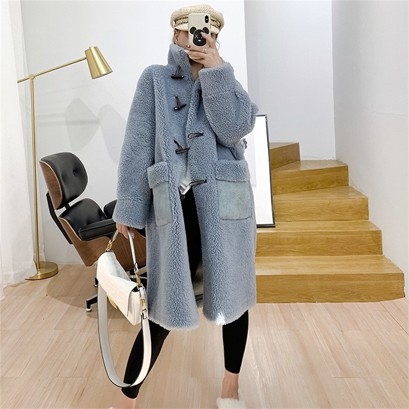 Fur Coat 2019 Women Winter Wide-waisted Loose Wool Coat Mandarin Collar Long With Horn Button Female Faux Fur Coat