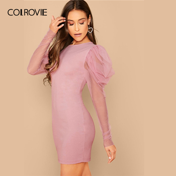 COLROVIE Pink Mesh Gigot Sleeve Bodycon Dress Women Sheer Sexy Backless Mini Dress 2020 Spring Slim Elegant Pencil Dresses 3