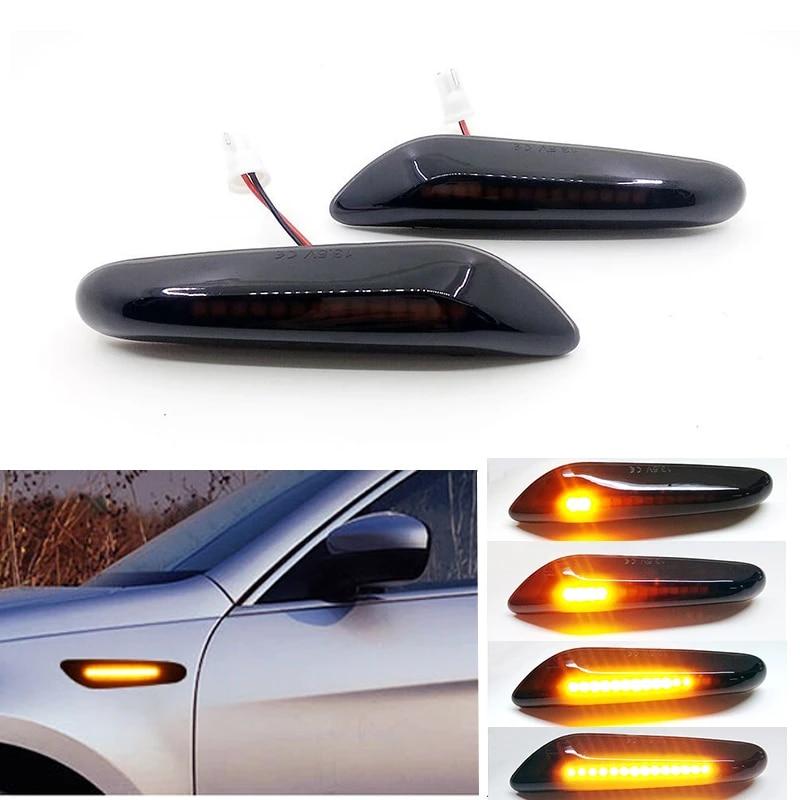 2x LED Side Turn Signal Lights Black Lens Transparent Replacement E36 E46 E53 E83 E84 E90 E91 E92 E93 X1 X3 X5 E4 MOT T/ÜV ITV