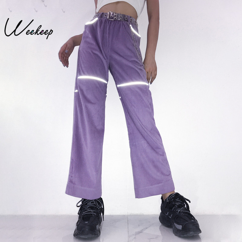 Weekeep Reflective Metal Chain Patchwork Pants Women Purple High Waist Straight Trousers Elastic Waist Casual Pantalon Femme