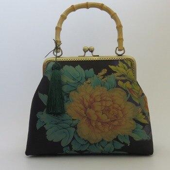 Handbag Chinese Clothing Crossbody National Style Retro Imitation Gambiered Gauze Bag Mouth Gold Cheongsam