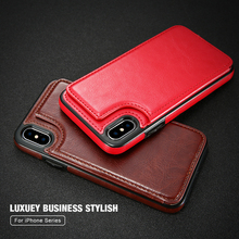 Retro PU Leather card cover phone case For iPhone 7 8 Multifunction with stander for iphone XR 6S x