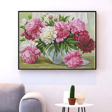 HUACAN DIY Cross Stitch Embroidery Flowers Cotton Thread Painting Kits Needlework 14CT Home Decoration