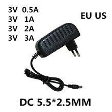 Adaptador dc 3v, 0.5a 1a 2a 3a ac 100-240v, conversor de potência, 1 peça adaptador 5 volts 1000ma fonte de alimentação carregador ue eua plug