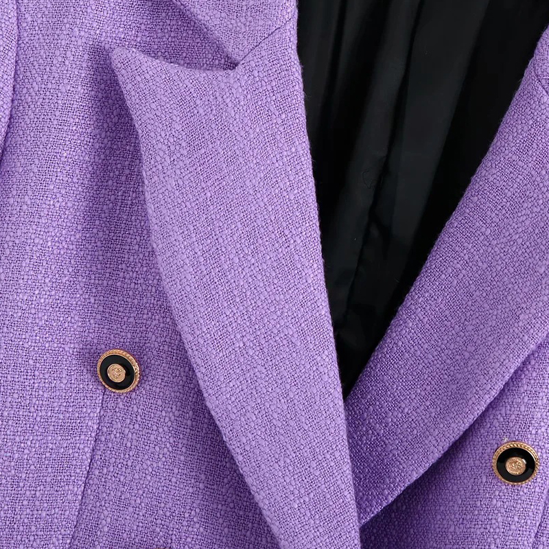 Autumn Vintage Purple Tweed Blazers And Jackets Women Elegatant Double Breasted Office Suit Coat Female Outwear Tops