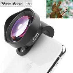 Lente da câmera do telefone profissional 75mm lente macro hd sem distorção efeito dslr clip-on para iphone samsung huawei xiaomi telefone inteligente