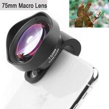 Obiettivo per fotocamera professionale per telefono 75mm obiettivo Macro HD DSLR effetto Clip on per iPhone 12 11 Pro Max Samsung S20 Plus Huawei Xiaomi