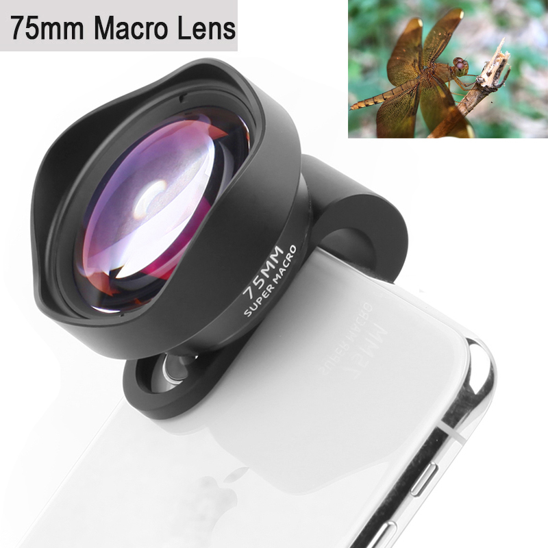 Professional Phone Camera Lens 75mm Macro Lens HD No Distortion DSLR Effect Clip-on for iPhone Samsung Huawei Xiaomi Smart Phone image