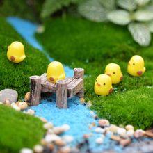 Minicasa de muñecas en miniatura para decoración de plantas para el hogar, patito amarillo de resina, manualidades para decoración de plantas para el hogar