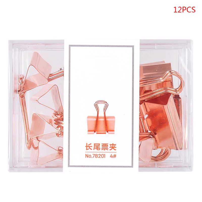 12pcs Binder Clips Rose Gold Paper Clip Clamp Document Photo Ticket Holder Tool