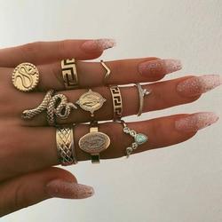 10 Pcs/Set Western Hot Rhinestone Knuckle Rings Set Fancy Snake Statement Rings Set For Women Jewelry 2020