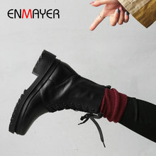 ENMAYER 2019 Boots Women Cool Platform Lace-Up Genuine Leather Shoes Square Heel Round Toe