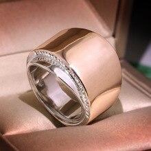 RongXing Simple moda oro rosa plata anillos de doble Color para Mujeres Hombres Mini Zircon blanco anillo geométrico joyería femenina de lujo