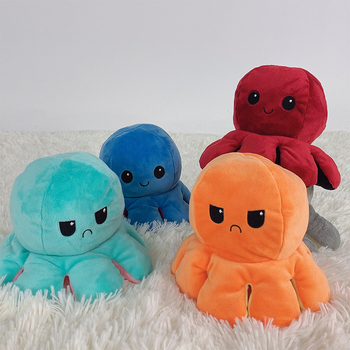 13 style reversible octopus stuffed plush doll simulation animal double-color and double-sided child toy