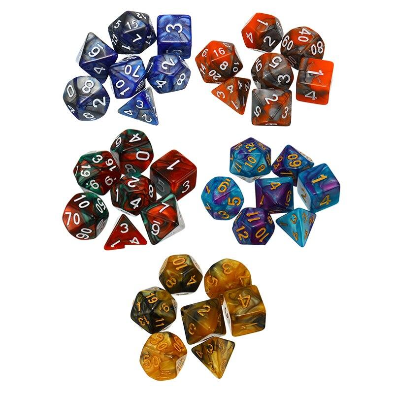 7 Pieces / Set  Dice D & D Color Multicolor Dice Mix D4 D6 D8 D10 D12 D20 DND Dice Table Game
