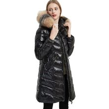 Luxury Real Fox Fur Collar Long Black Puffer Jacket for Women 2021 Winter Hooded Thick High Quality Duck Down Coat Feather Parka