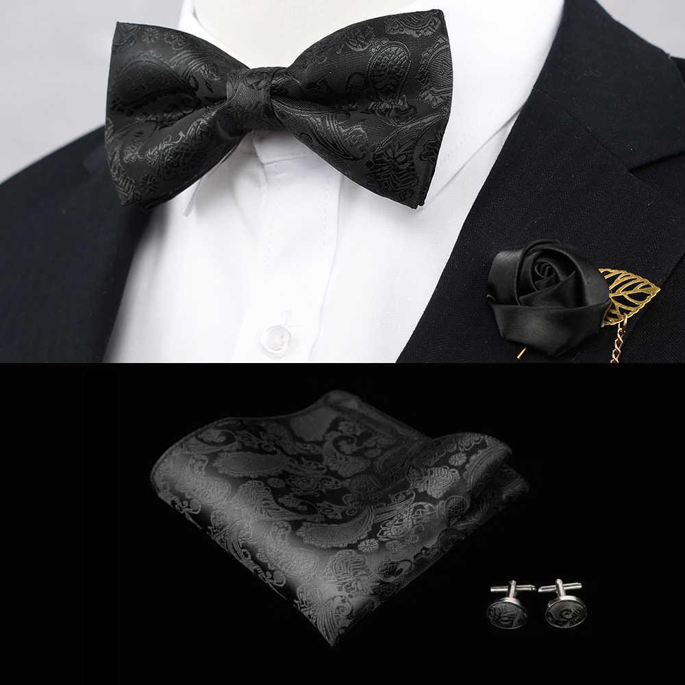 פרחוני פייזלי 100% משי ארוג גברים פרפר עניבת פרפר שחור BowTie Cufflink Boutonnier Pocket כיכר הממחטה ממחטת חליפה להגדיר