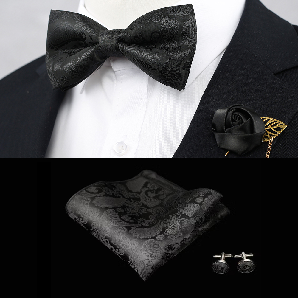 Floral Paisley 100% Silk Woven Men Butterfly Bow Tie Black BowTie Cufflink Boutonnier Pocket Square Handkerchief Hanky Suit Set