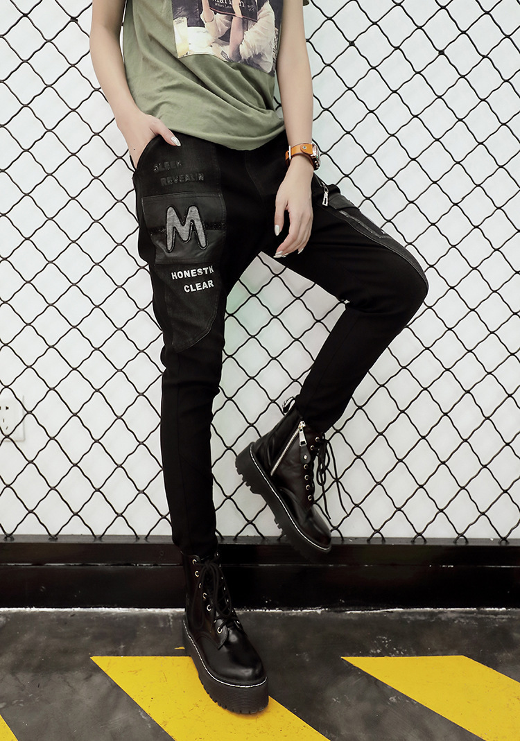 Health 最大ルル春のファッションヴィンテージ弾性ハーレムパンツ韓国レディースブラックスキニーリッピング 女性デニムズボン 3d 67