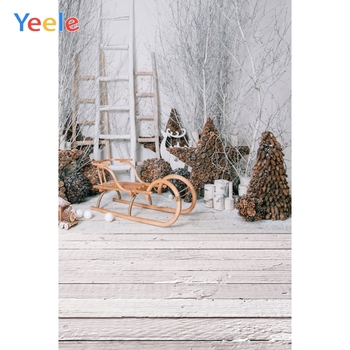 Yeele Christmas Party Photocall Pine Sled Ins Wood Photography Backdrops Personalized Photographic Backgrounds For Photo Studio