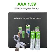 1.5V AAA USB נטענת סוללות 550 mWh 360mAh ליתיום סוללה עבור שלט רחוק MouseElectric + סוג C כבל מקורי