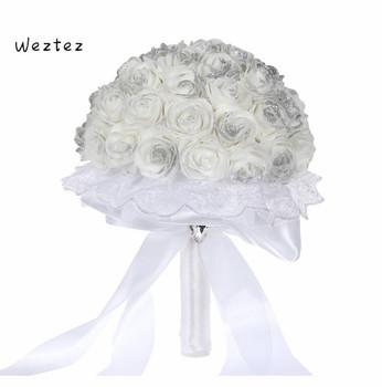 Kwiat róży bukiety ślubne dla nowożeńców Handmade druhna akcesoria ślubne pianki kwiat bukiety ślubne SPH168 tanie i dobre opinie WEZTEZ NYLON 26cm 19cm 0 13kg SPH-5556 Bukiet ślubny bridal bouquet wedding bouquet
