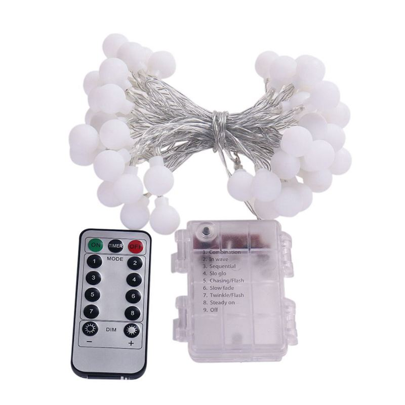 Remote Timer Waterproof 5M 50 LED Outdoor Globe String Lights 8 Modes Battery Operated Frosted White Ball Christmas Fairy Light