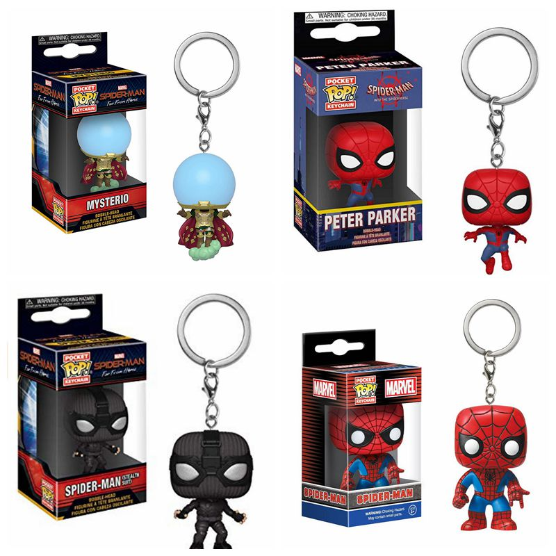 Funko POP Spider-man-Figure Mysterio Peter Parker Keychain Spider Man Figure Action Pocket Toys Figurine Collectible Model Toys